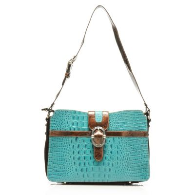 "712-881 - Madi Claire Croco Embossed Leather ""Tracy"" Buckle Detailed Shoulder Bag"