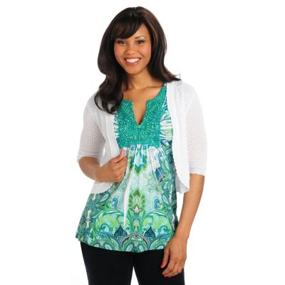 712-888 - One World Micro Jersey Crochet Neck Studded Tunic w/ Pointelle Shrug