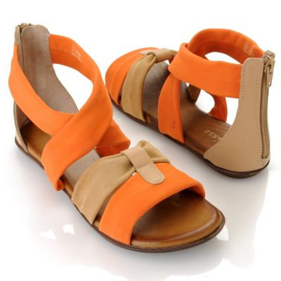 "712-932 - Matisse® Leather ""Aussie"" Crisscross Strap Back Zip Sandals"