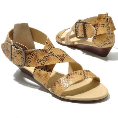 "712-935 - Matisse® ""Belmont"" Crisscross Strap Buckle Detailed Low Wedge Sandals"