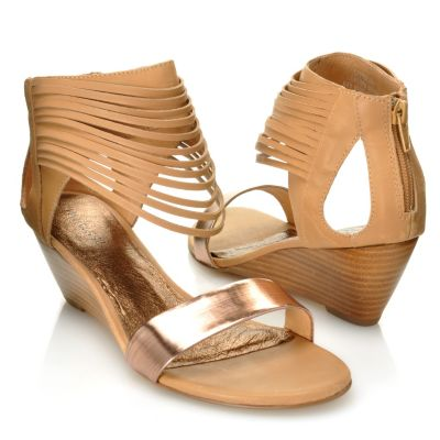 "712-936 - Matisse® Leather ""Cityscape"" Slash Detailed Wedge Sandals"
