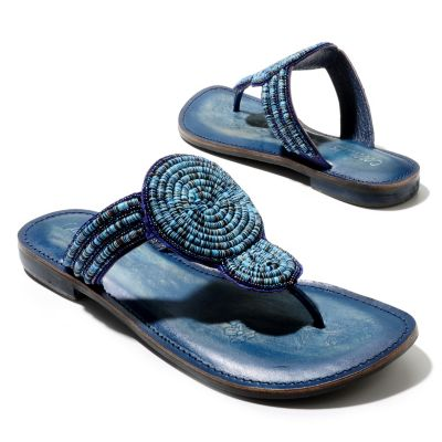 "712-938 - Matisse® Leather ""Clarity"" Bead & Sequin Embellished Thong Sandals"