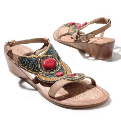 "712-940 - Matisse® Leather ""Clarity"" Bead & Sequin Embellished Thong Sandals"