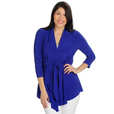 712-956 - Kate & Mallory Stretch Knit 3/4 Sleeved Tie Front Cardigan