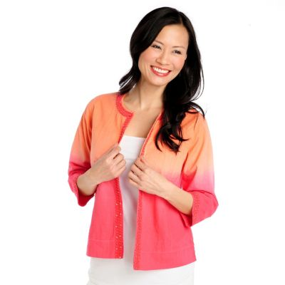 713-001 - OSO Casuals Cotton Slub 3/4 Sleeved Crochet Trim Dip Dye Jacket