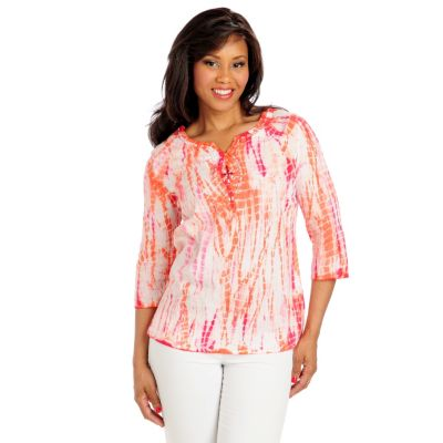 713-008 - OSO Casuals Cotton Gauze 3/4 Sleeved Embellished Neck Tie-dyed Tunic