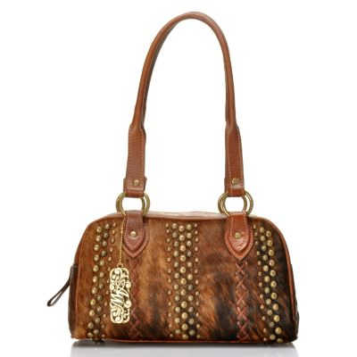 713-018 - American West Hand Tooled Leather & Cow Hide Zip-Around Satchel
