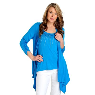 713-022 - Kate & Mallory Stretch Knit Ruched Sleeve Cascade Cardigan & Embellished Tank Set