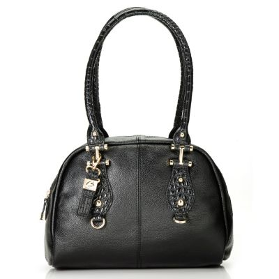 "713-027 - Buxton® Leather ""Bianca"" Double Handle Zip Around Satchel"