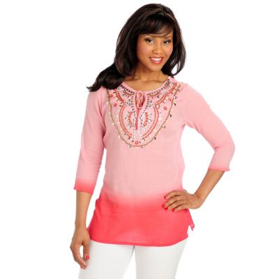 713-044 - OSO Casuals Ombre Gauze 3/4 Sleeved Embellished Keyhole Neck Tunic