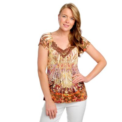 713-177 - One World Micro Jersey Flutter Sleeved Crochet Applique Embellished Top