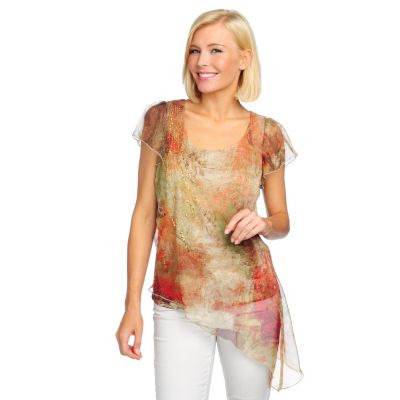 713-184 - One World Chiffon Overlay Flutter Sleeved Asymmetrical Hem Embellished Top