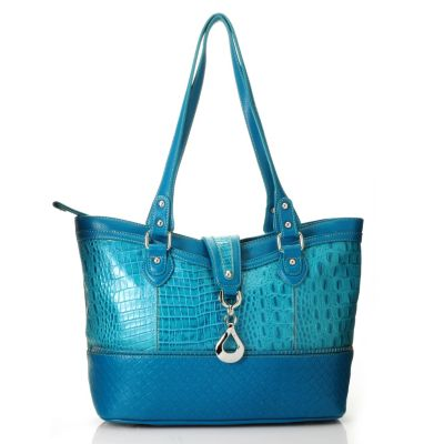 713-191 - Madi Claire Croco Embossed Leather Tote Bag w/ Textured Trim