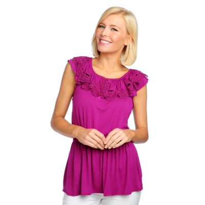 713-227 - OSO Casuals Stretch Knit Flutter Sleeved Crochet Trimmed Blouson Top