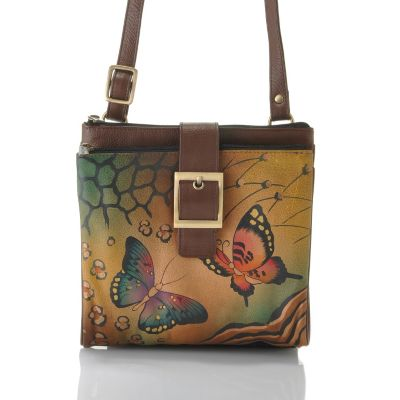 713-244 - Anuschka Hand-Painted Leather Triple Compartment Travel Organizer Handbag