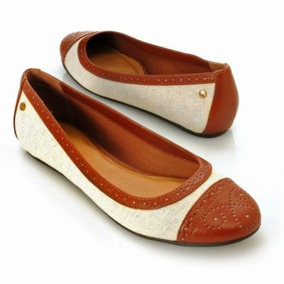 "713-252 - Bass Footwear Canvas ""Bedford"" Hidden Wedge Perforated Flats"