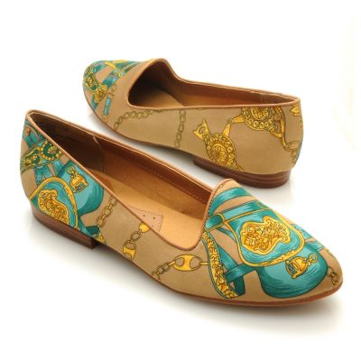 "713-254 - Bass Footwear Satin ""Geneva"" Scarf Print Smoking Loafers"