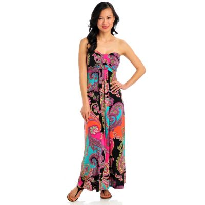 713-261 - aDRESSing WOMAN Stretch Knit Strapless Gathered Front Maxi Dress