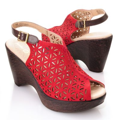 "713-292 - Jambu Leather ""Vera"" Laser Cut Floral Pattern Peep Toe Wedge Sandals"