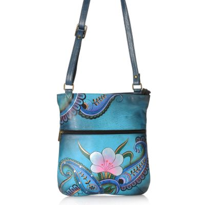 713-386 - Anuschka Hand-Painted Leather Slim Cross Body Bag