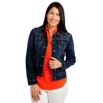 713-390 - OSO Casuals Twill Long Sleeved Embellished Denim Jacket