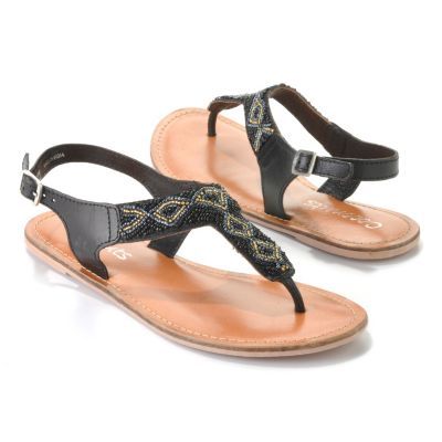 "713-493 - Matisse® Leather ""Joni"" Beaded Thong Sandals"