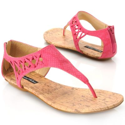 713-909 - Michael Antonio® Reptile Embossed Crisscross Design Back Zip Thong Sandals