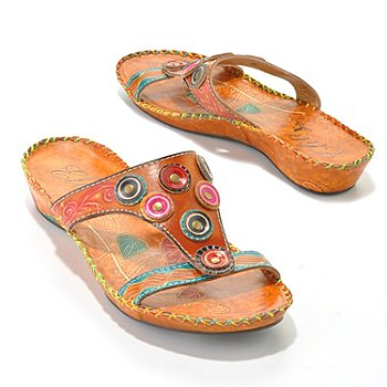 36 - Corkys Elite Hand-Painted Leather Textured Circle Design Slip-On Sandals