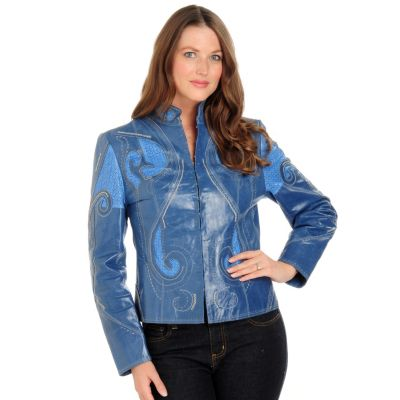 Pamela McCoy Perforation Detail Patent Finish Suede Jacket. TWILIGHT, M $ 393.25