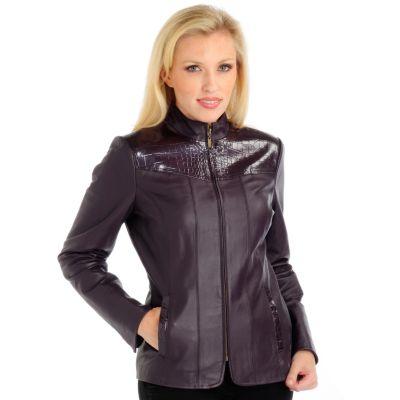 Pamela McCoy Croco Embossed Trim Leather Jacket. AUBERGINE
