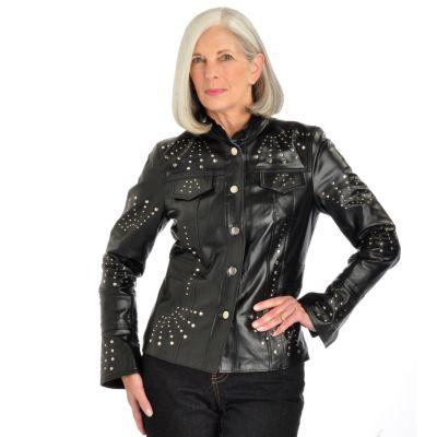 Pamela McCoy Stud Detail Mandarin Collar Leather Jacket. BLACK, 1X