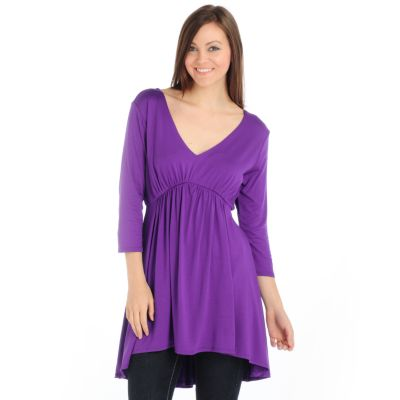 Suzanne Somers V-Neck Knit Tunic. PURPLE, L $ 20.12