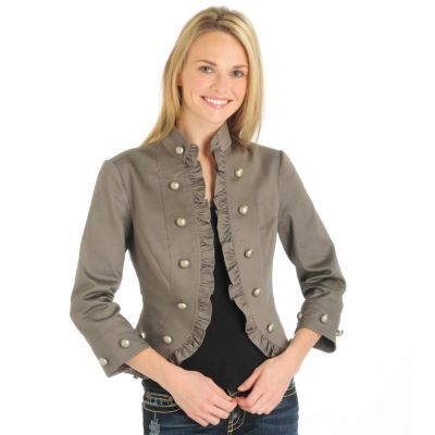 John Paul Richards Ruffle Trim Stretch Denim Military Jacket. ASH, XL $ 37.50