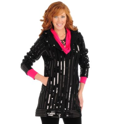 Suzanne Somers Sequin Hooded Sweatshirt Duster Jacket $ 107.50