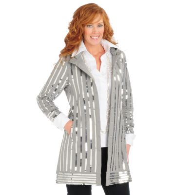 Suzanne Somers Sequin Hooded Sweatshirt Duster Jacket. GREY, XL $ 76.51