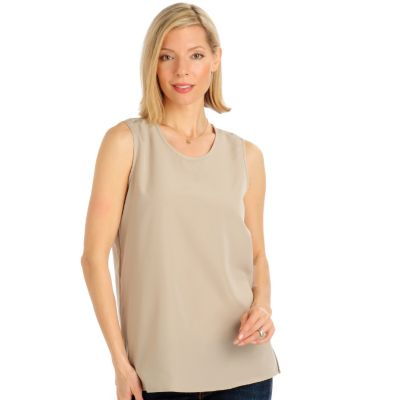 Encore by Daniel Kiviat Primo Peach Skin Sleeveless Top. KHAKI, 1X $ 33.00