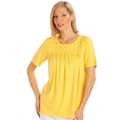 Encore by Daniel Kiviat Basketweave Caress Knit Top. LIGHT BLUE, YELLOW, CORAL $ 52.00