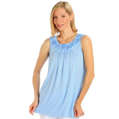 Encore by Daniel Kiviat Self Flower Motif Caress Knit Sleeveless Top. CORAL, LIGHT BLUE, YELLOW $ 44.00