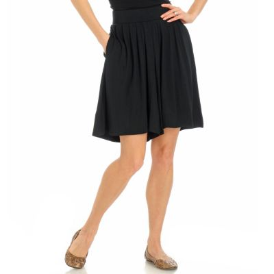 Encore by Daniel Kiviat Pleated Caress Knit Wide Leg Shorts. BLACK $ 39.00