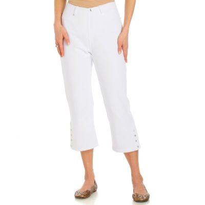 Encore by Daniel Kiviat Ankle Button Detail French Terry Pull-on Capri Pant. WHITE, 8 $ 56.00