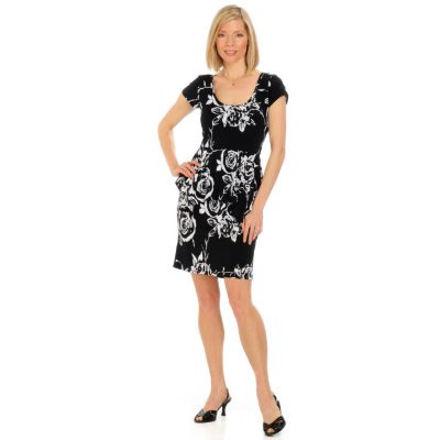 aDRESSing WOMAN Short Sleeve Peplum Dress. BLACK / WHITE $ 39.50