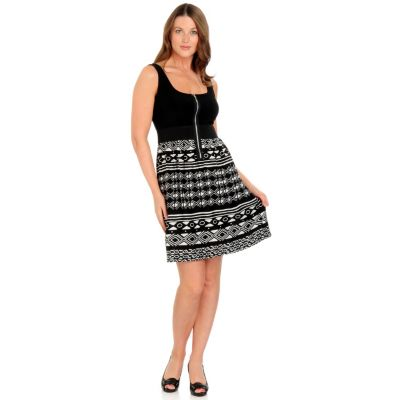 aDRESSing WOMAN Reversible Zipper Detail Sleeveless Dress. BLACK / WHITE $ 38.00