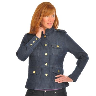 Geneology Fashion DNA Military-Style Denim Jacket. DARK WASH, 3X $ 68.75