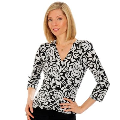 aDRESSing WOMAN Faux Wrap Hologram Surplus Top. BLACK / WHITE, 1X $ 36.00