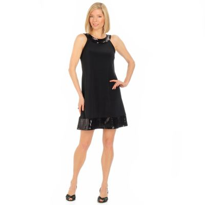 aDRESSing WOMAN Hologram Trim Sleeveless Tank Dress. BLACK, 1X $ 34.55