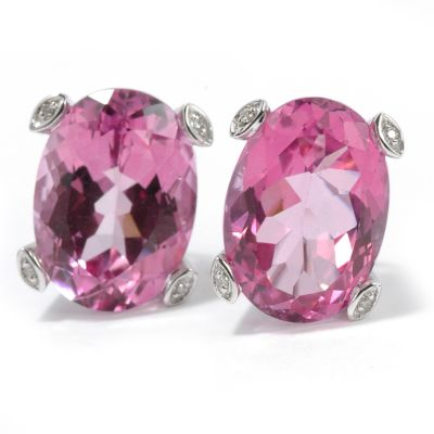 14K WG/Pink Topaz or YG/Mystic Topaz & Diamond Earrings $ 339.40