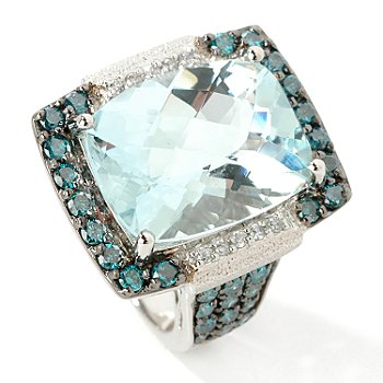 14K White Gold Aquamarine & Blue Diamond Ring at ShopNBC.com :  14kwhitegoldaquamarinebluediamondring 14k white gold aquamarine blue diamond ring on sale blue 14k