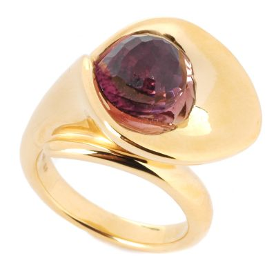 14K Gold Amethyst or Citrine Choice Cala Lily Electroform Ring $ 126.44