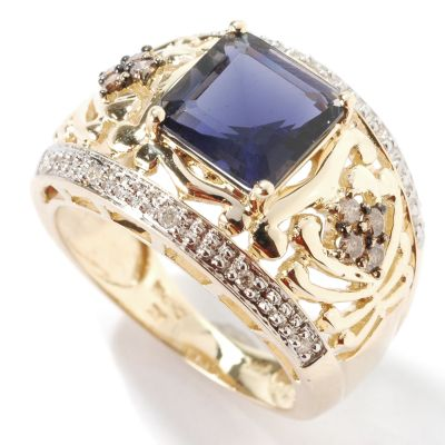 14K Gold Iolite & Brown / White Diamond Ring $ 319.20