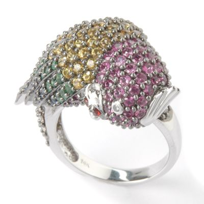 14K White Gold Multi-Sapphire, Tsavorite & Diamond Parrot Ring $ 712.20
